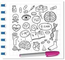 medizinisches Wissenschaftselement im Gekritzel- oder Skizzenstil auf Notizbuch