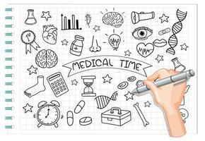 handritning medicinsk element i doodle eller skiss stil på anteckningsboken vektor
