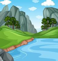 flod med klippa natur landskap bakgrund scen vektor