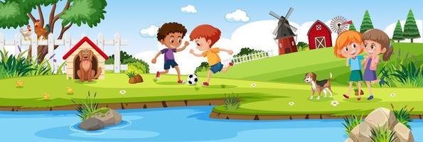 Kinder spielen in der horizontalen Landschaftsszene der Naturfarm zur Tageszeit vektor