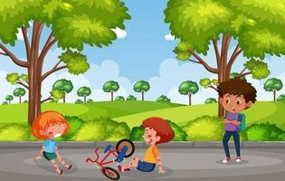 två barn skadade på kinden och armen från att cykla på trädgårdsplatsen vektor