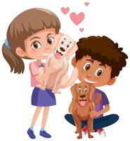 barn med deras husdjur isolerad på vit bakgrund vektor