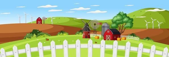 Bauernhoflandschaft mit roter Scheune und nahem Zaun in der Sommersaison vektor