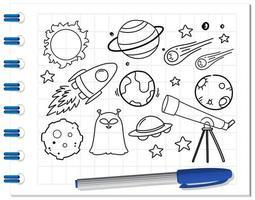 rymdelement i klotter- eller skissstil på anteckningsboken vektor