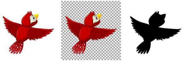söt röd fågel seriefigur vektor
