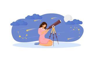 flicka med teleskop vektor