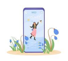 Frühlingswettervorhersage-Cartoon-Smartphone vektor