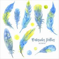 akvarell blå fjäder set