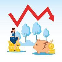 Börsencrash mit Geschäftsfrau und Pfeil nach unten vektor