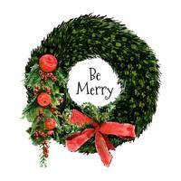 Akvarell julkrans med prydnader och blommor