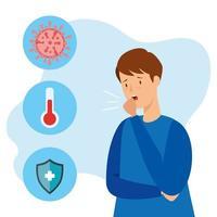 Mann mit Coronavirus und medizinischen Symbolen infiziert vektor
