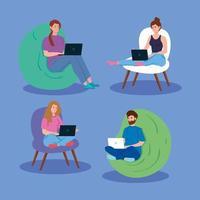 Menschen, die zusammen an ihren Laptops arbeiten vektor