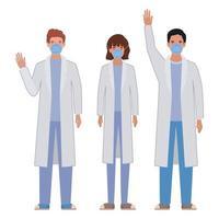 män och kvinna läkare med uniformer och masker