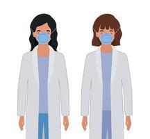 kvinnliga läkare med uniformer och masker