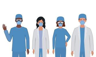 män och kvinnliga läkare med uniformer och masker