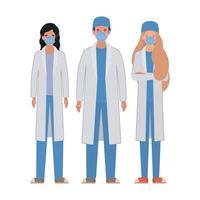 man och kvinnliga läkare med uniformer och masker