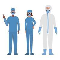 läkare med skyddsdräkter glasögon och masker