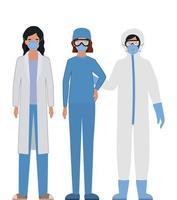 läkare med skyddsdräkter glasögon och masker mot covid 19