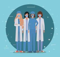 kvinnliga läkare med uniformer masker och glasögon