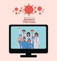 Frauen und Männer Ärzte Helden mit Uniformen und Masken