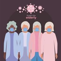 äldre kvinnor med masker mot covid 19 vektor