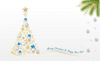 dekoratives Weihnachtsdesign mit Geschenkbox und Lametta vektor