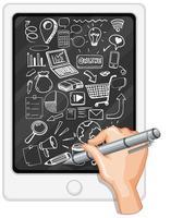 Handzeichnung Social-Media-Element auf Tablet vektor