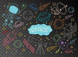 rymdelement i klotter- eller skissstil vektor