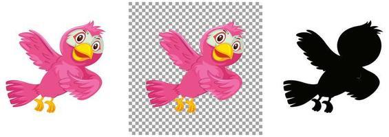 söt rosa fågel seriefigur vektor