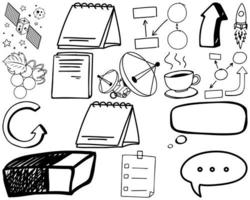 Satz von Gegenstand und Symbol handgezeichnetes Gekritzel