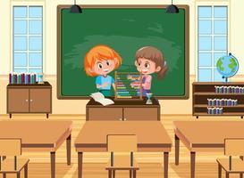 junger Student, der Abakus vor dem Klassenzimmer spielt vektor