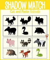 Finden Sie das richtige Arbeitsblatt für Schatten und Schattenübereinstimmung vektor