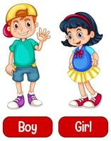 motsatta adjektivord med pojke och flicka vektor