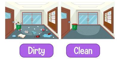 motsatta adjektiv ord med smutsiga och rena vektor