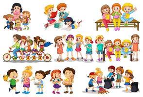 uppsättning av olika barn som leker med sina leksaker vektor