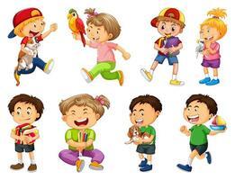 uppsättning av olika barn som leker med sina husdjur vektor