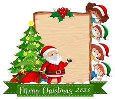 leeres Holzbrett mit Weihnachtsmann und maskierten Kindern vektor