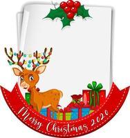 leeres Papier mit frohen Weihnachten 2020 und Rentier