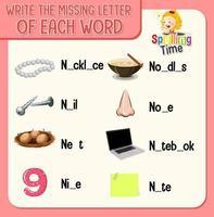 skriv den saknade bokstaven i varje ordark för barn vektor
