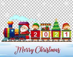 god jul jultomten och älva på tåget vektor