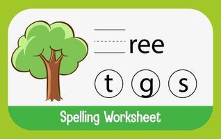 finde fehlenden Buchstaben mit Baum vektor