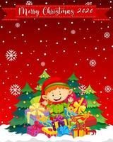 Frohe Weihnachten 2020 Schriftart mit niedlichen Elfen-Zeichentrickfigur vektor