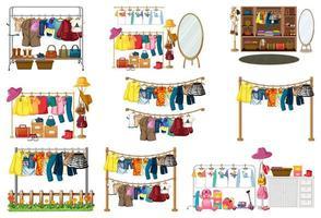 Set Kleidung, Accessoires und Kleiderschrank