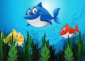många hajar i undervattensbakgrunden vektor