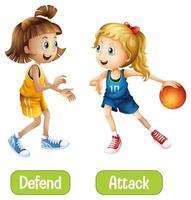 motsatta ord med försvar och attack