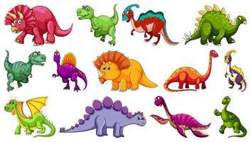 Satz von verschiedenen Dinosaurier-Comicfiguren