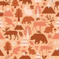 sömlösa mönster med söta tecknade, älgar, rådjur, björnar vektor