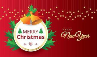 ram för god jul och hängande stjärnor på rött
