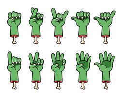 geschnittene gruselige Zombie Cartoon Hand Geste gesetzt vektor