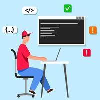 datorprogrammerare vid skrivbordet vektor